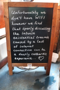 Chalk board as entrance to station cafe