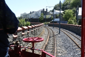Front view from a tram leaving Laxey