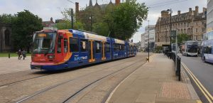 Sheffield Tram outside the Cathedral