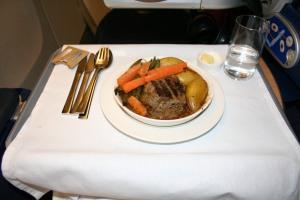 BA Club Class evening meal