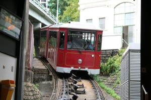 Tram leaving Peak Tramway bottom station