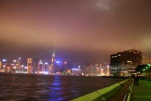 Hong Kong Light Show from Avenue of Stars
