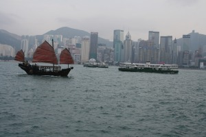 Junk and Star Ferry in Victoria Harbour