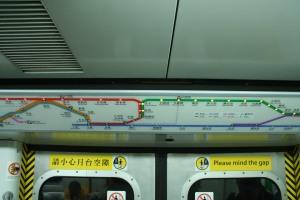 MTR route map above train door