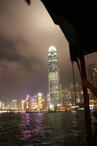 Hong Kong by night from a Junk