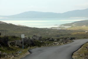 Single Track Road, with Passing Place, and sandy beach in the background
