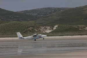 Twin Otter G-BZFP taking off from Barra beach