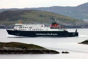 MV Hebrides passing Isle of Scalpay heading to Tarbert.